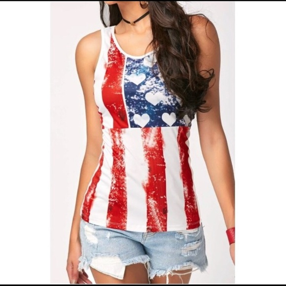 T&J Designs Tops - Hearts and stripes  4th of July Tee